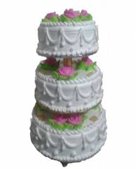 Three Tier Round Pineapple Cake With Stand - 5 KG