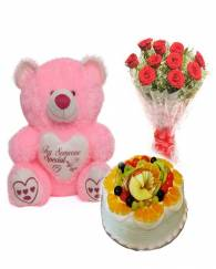 Fresh fruit cake flower teddy combo