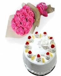 Pink Rose With Cake