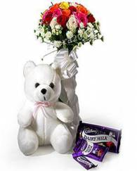 Teddy With Chocolate & Flowers