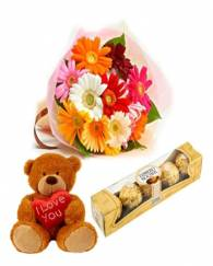 Gerberas with Chocolate and Teddy