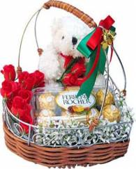 Rose in Basket with Love