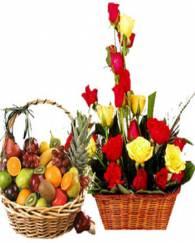 Fresh Fruits & Flowers Basket