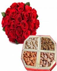 Mix Dryfruits with 12 Red rose