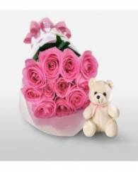 Pink Rose with Teddy