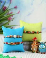 Multicolour Beaded Rakhi Set of 3
