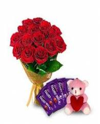 Roses with dairy Milk Chocolates and teddy