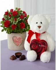 It is Love Valentine Day Mini Rose With 1 box of Chocolate Gund Bear