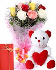 Mix Rose Bunch And Teddy Bear with Greeting Card