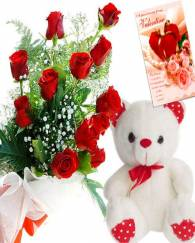 Rose Box With Teddy Bear