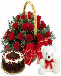 Basket of Roses with Sweet Teddy and Delicious Cake