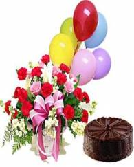 Chocolate Truffle Cake with Flowers and Balloons